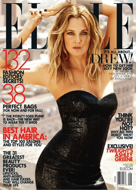 Hot Cover Drew Barrymore X Elle Us August 2010 -1010